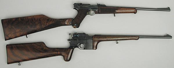 Пистолеты-карабины Джона Марца. Верхний – Люгер, нижний – Маузер