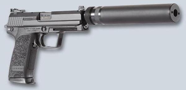 Пистолет USP Tactical с присоединенным ПБС