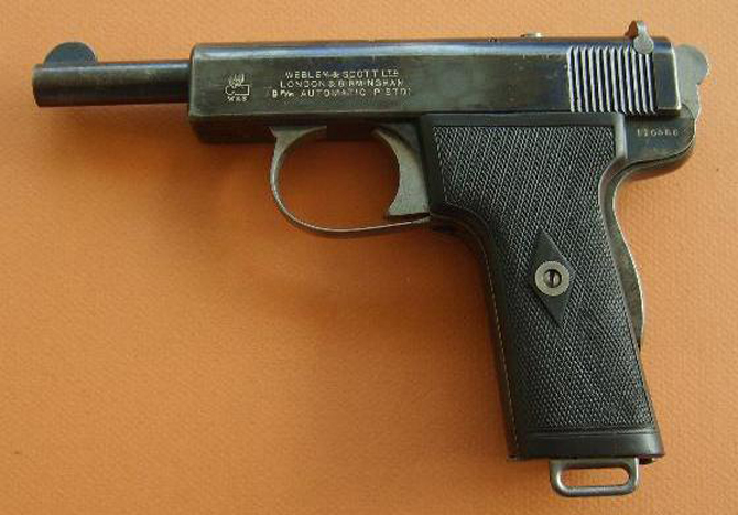 Пистолет Webley & Scott Model 1909, калибр 9mm Browning Long