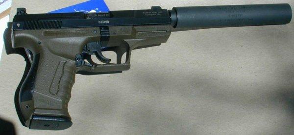 Пистолет Walther P99 с присоединенным глушителем AWC Titanium Abraxas