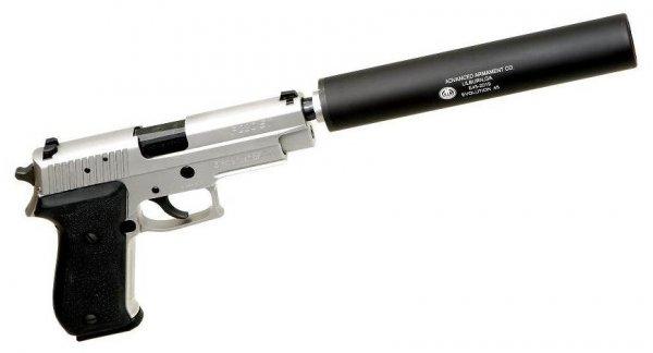 Пистолет Sig Sauer P220 ST с присоединенным глушителем